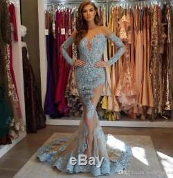 Lace Applique Mermaid Evening Dress Celebrity Party Pageant prom Gowns Custom