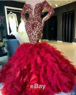 Lace Bead Mermaid Prom Dresses Tulle Formal Party Celebrity Pageant Evening Gown