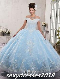 Lace Beads Off Shoulder Quinceanera Corset Ball Gown Pageant Party Wedding Dress