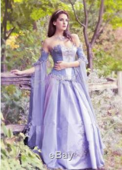 Lavender Fantasy Medieval Wedding Dress Fairy Lace Bridal Gown Custom ALL Size