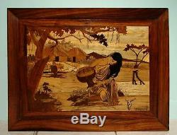 Lg. MARQUETRY Panel PICTURE Rural LANDSCAPE Wood Inlaid WOMAN Dipping WATER Farm