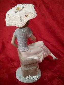 Lladro #7612 Picture Perfect 1989 Lady Sitting With A Dog And Parasol In A Box