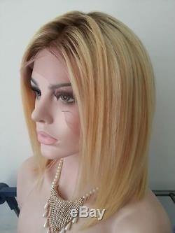 Long Blonde Central Part 100% Human Hair Lace Wig Straight Ombre Lace Wigs