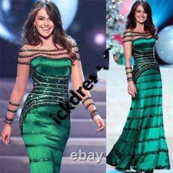 Long Sleeve Crystal mermaid Evening Dress Sexy Celebrity Pageant Prom Party Gown