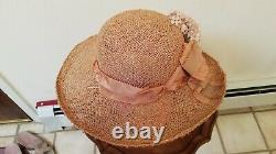 Louise Green Peach Straw Picture Hat