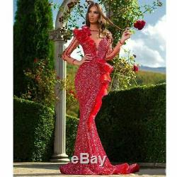 Luxury Red Sequined Mermaid Celebrity Pageant Party Dress Prom Evening Gown New