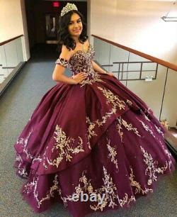 Luxury Sweet 16 Quinceanera Dresses Applique Beaded Party Prom Evening Gown 2021