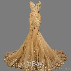 Mermaid Gold Evening Dress Long Bead Party Prom Pageant Formal Ball Gown Custom