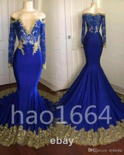 Mermaid Prom Dresses Royal Blue Gold Appliques Long Sleeve Evening Plus Gowns