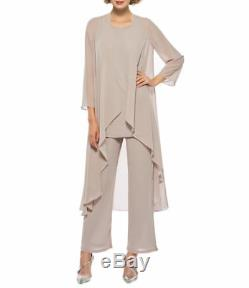 Mother of the Bride Chiffon Pant Suits 3 Pieces Party Formal Women's Guest Gown