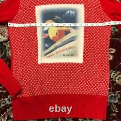 NWT Postcard Skier Picture Turtle Neck Sweater Size M Medium Made in Italy