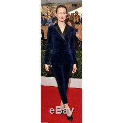 Navy Blue Womens Business Suits Velvet Double Breasted Slim Lady Trouser Suit