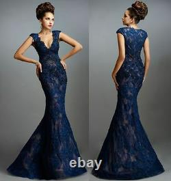 New Applique Sexy Long Mermaid Prom Dresses Formal Party Celebrity Evening Gown