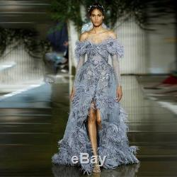 Off Shoulder Long Sleeves Slit Feather Evening Gowns Formal Dresses Party Prom
