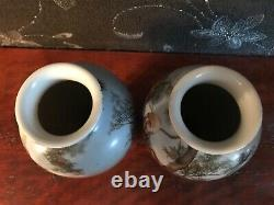 Pair Chinese Porcelain Vases Man and Woman picture
