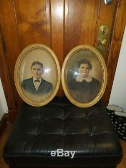 Pair of Antique Oval Convex Bubble Glass Picture Frames 22x16 Man & Woman