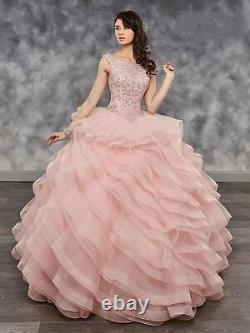 PinkCrystal Ruffles Organza Quinceanera Ball Gown Princess Party Pageant Dresses
