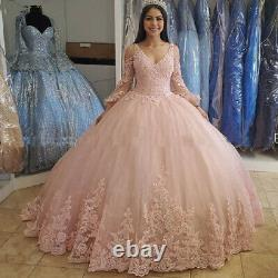 Pink Quinceanera Dresses Ball Gown Formal Pageant Sweet 16 Girls Lace Beaded New