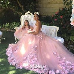 Princess Pink Tulle Quinceanera Dress 3D Floral Appliques Prom Dresses Ball Gown