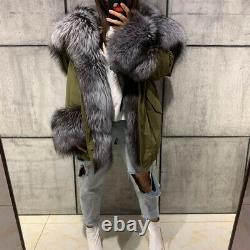 Quality Women's 100% Real Fox Fur Coat Hooded Parka Fashion Slim Warm Overcoat