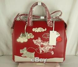 Radley If Pigs Could Fly Medium Signature Picture Shoulder or Grab Bag Red New
