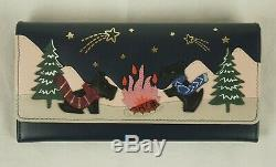 Radley Stargazing Ink Blue Leather Signature Picture Large Matinee Purse Wallet