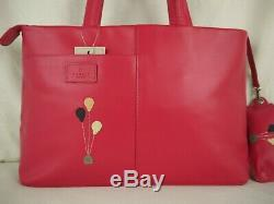 Radley Through The Hoop Pink Leather Grab Bag Signature Picture Medium New