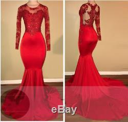 Real Photo Appliques Sheer Red Long-Sleeves Mermaid Prom Dresses Evening Gown