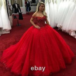 Red Ball Gown Quinceanera Dresses Off Shoulder Beads Sweet 16 Prom Ball Gown