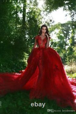 Red V neck Mermaid Evening Dress Detachable Lace Applique Pageant Wedding Gowns