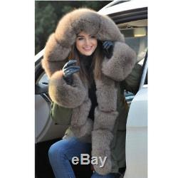 Removable Liner Cuffs Women 100% Real Fox Fur Coat Hooded Parka Jacket Overcoat