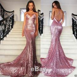 Sequined Long Evening Dress Formal Dresses Sexy Mermaid Pageant Party Prom Gowns