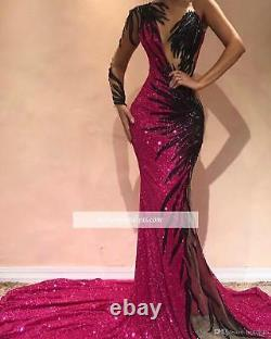 Sequined One Sleeve Mermaid Evening Dress Sexy Cocktail Party Pageant Prom Gown