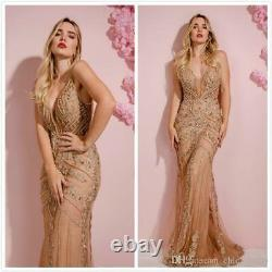 Sexy Backless Applique Mermaid Prom Party Cocktail Dresses Pageant Evening Gowns