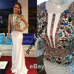 Sexy Crystal Long Formal Evening Dress Mermaid Pageant Prom Celebrity Prom Gown