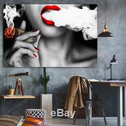Sexy Lip Woman Smoking 1 PC Canvas Wall Decorate Printing Picture Home Decor