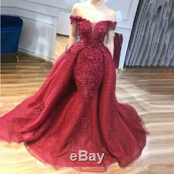 Sexy Mermaid Beaded Evening Dress Detachable Train Celebrity Party Pageant Gown