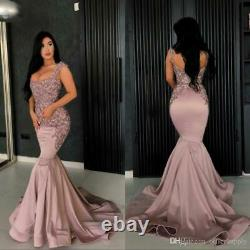Sexy Mermaid Evening Dress Bead Applique Satin Pageant Party Cocktail Prom Gown