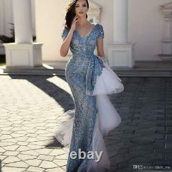 Sexy V Neck Mermaid Evening Dress Long Formal Pageant Celebrity Party Prom Gown