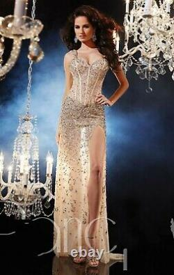Shiny Crystal Split Mermaid Evening Party Dress Sexy Celebrity Prom Pageant Gown