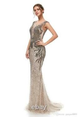 Shiny Crystal Tulle Evening Dress Sexy Mermaid Celebrity Prom Pageant Party Gown