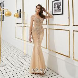 Shiny Crystal Tulle Mermaid Celebrity Pageant Party Evening Dress Prom Gown 2019