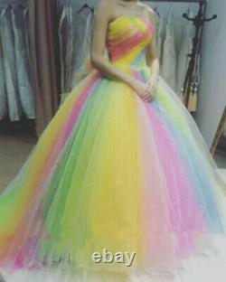 Shiny Quinceanera Dresses Rainbow Colored Sweet 16 Prom Party Princess Ball Gown