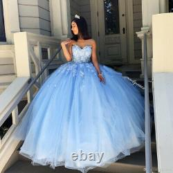 Sky Blue Quinceanera Dresses Sweetheart Flowers Evening Party Sweet 16 Dress New