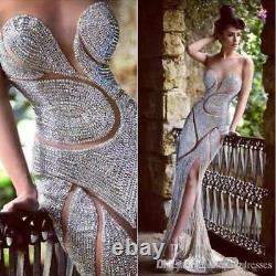 Sparkly Crystal Mermaid Evening Dress Sexy Formal Pageant Party Celebrity Gown