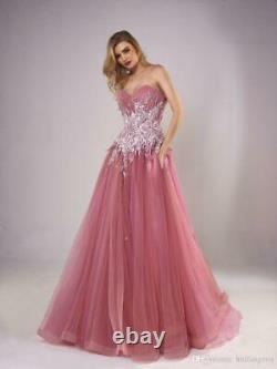 Sweet Applique Prom Dresses Lace Tulle Wedding Formal Party Pageant Evening Gown
