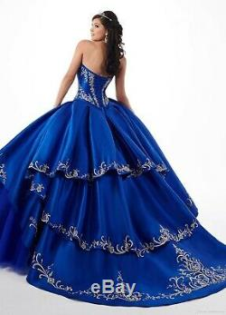 Sweet Embroidery Quinceanera Corset Ball Gown Princess Prom Party Pageant Dress