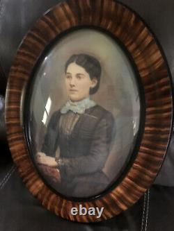 Tiger Stripe Oval Frame Convex/Bubble Glass With Portrait Of Woman Painted Details