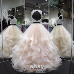 Two Pieces Beaded Quinceanera Dresses Ruffles Tulle Backless Prom Ball Gown