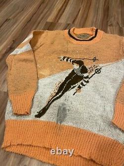Vintage 40s Jacquard Picture Knit Graphic Sweater of Skier Sz XS S Womens